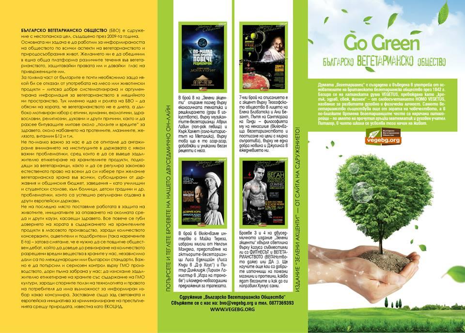БЪЛГАРСКО ВЕГЕТАРИАНСКО ОБЩЕСТВО – брошури Духовност, Етика, Здраве, Екология